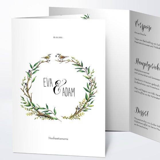 Menükarte Hochzeit - Liebesnest