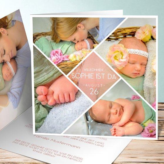 Facetten Baby - Quadratische Klappkarte 145x145 - Terrakotta