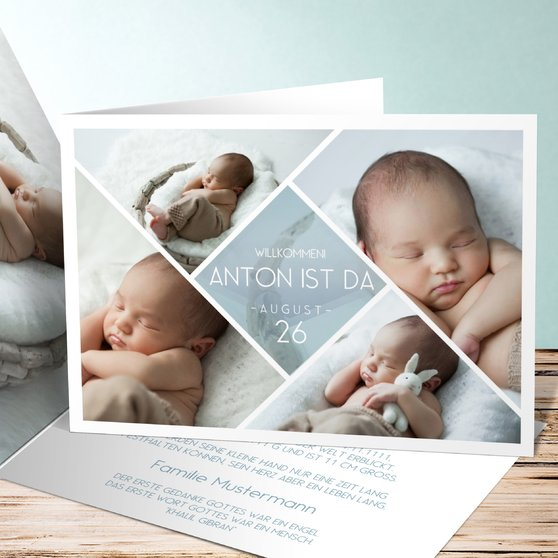 Facetten Baby - Horizontale Klappkarte 148x105 - Blaugrau