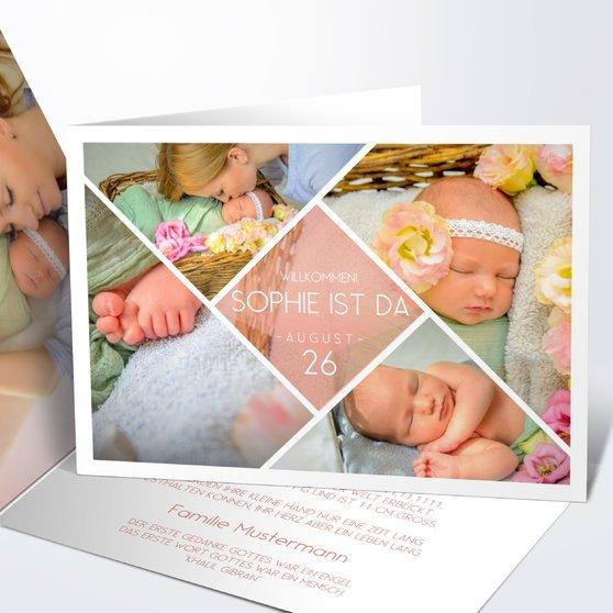 Facetten Baby - Horizontale Klappkarte 148x105 - Terrakotta