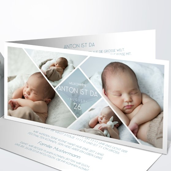 Facetten Baby - Horizontale Klappkarte 210x100 - Blaugrau