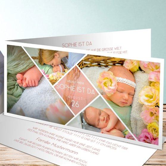 Facetten Baby - Horizontale Klappkarte 210x100 - Terrakotta
