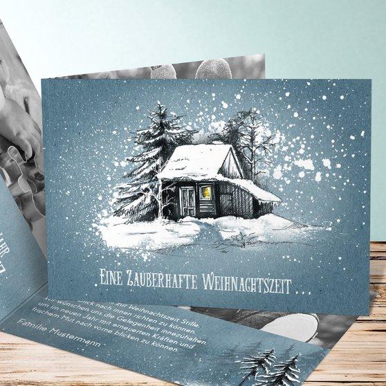 Stille Zeit - Horizontale Klappkarte 148x105 - Blau