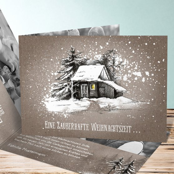 Stille Zeit - Horizontale Klappkarte 148x105 - Braungold