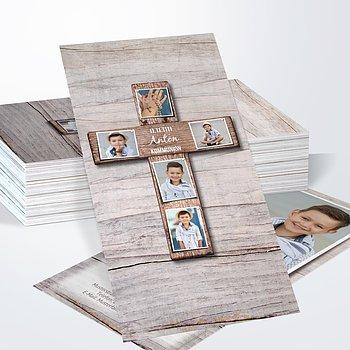 Kommunionskarten - Kreuz mit Fotos