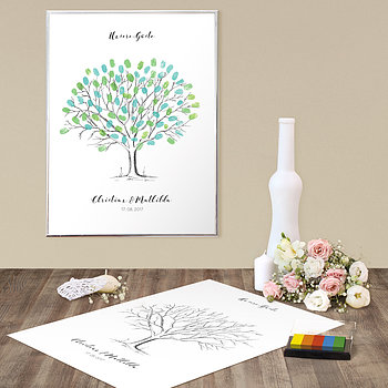 Fingerabdruckposter - Wedding Tree Love