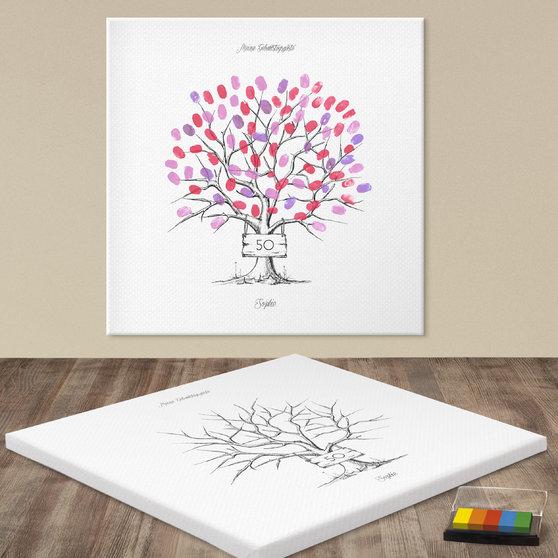 Fingerabdruckposter - Tafelbaum Geburtstag