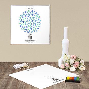 Fingerabdruckposter - Ballonkorb Hochzeit