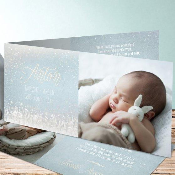 Zauberlicht Baby - Horizontale Klappkarte 210x100 - Blau