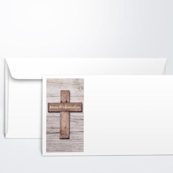 Umschlag mit Design Konfirmation - Kreuz mit Fotos