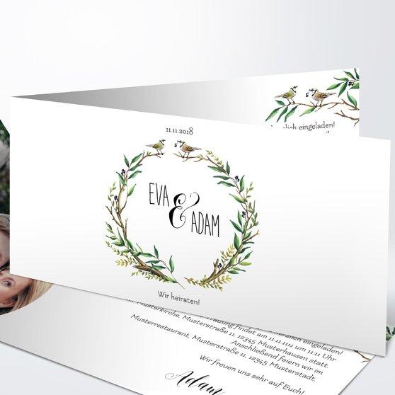 Liebesnest - Horizontale Klappkarte 210x100 - Weiß