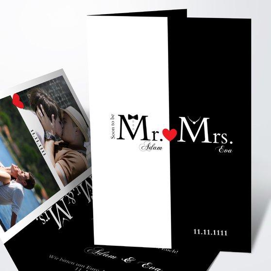Mr & Mrs - Vertikale Klappkarte 105x148 - Weiß