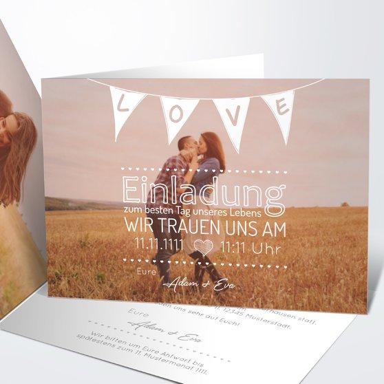 Liebeswimpel - Horizontale Klappkarte 148x105 - Weiß