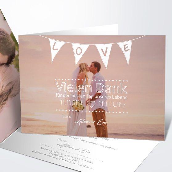 Danksagungskarte Hochzeit - Liebeswimpel
