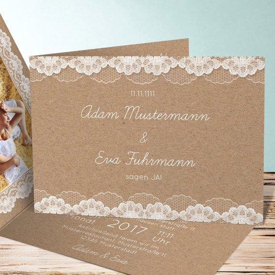 Hochzeitsspitze - Horizontale Klappkarte 148x105 - Dunkel Bisquite