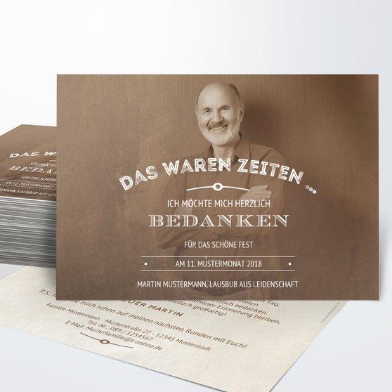 Danksagung Geburtstag - Alte Zeiten 70