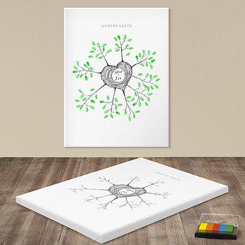 Fingerabdruckposter - Herzstamm Hochzeitsbaum