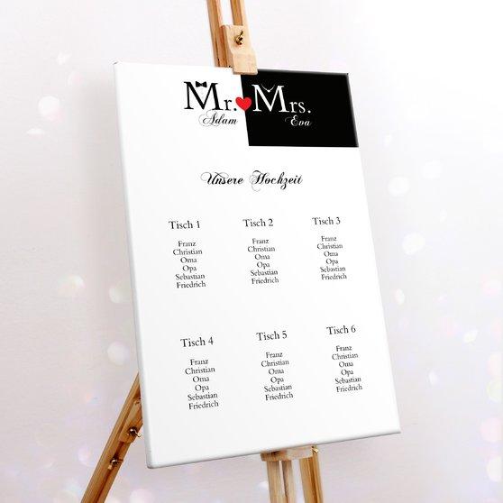 Sitzplan Hochzeit - Mr & Mrs