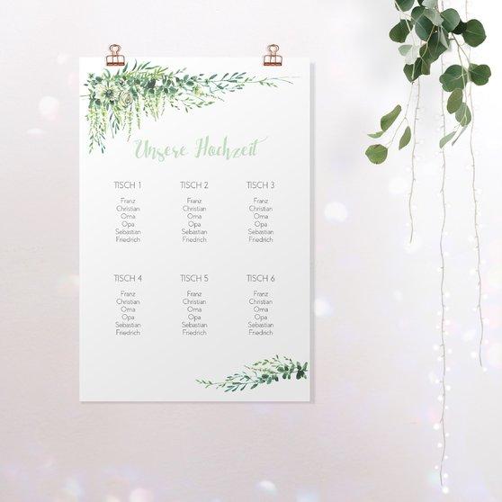 Sitzplan Hochzeit - Grüne Pracht