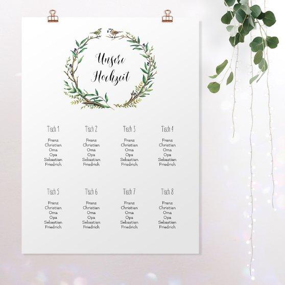 Sitzplan Hochzeit - Liebesnest
