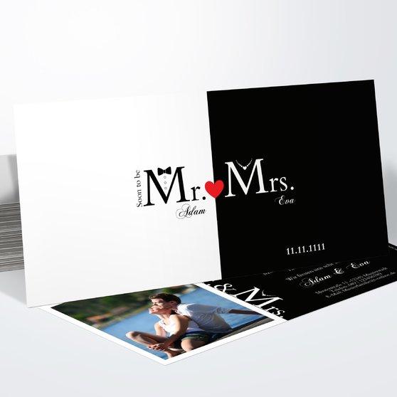 Mr & Mrs - Horizontal 210x100 zweiseitig - Weiß