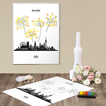Fingerabdruckposter - Feuerwerk Skyline Geburtstag