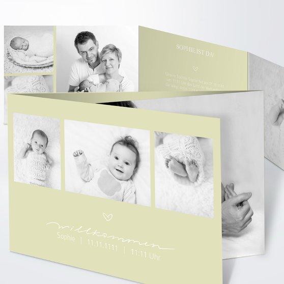 Kleiner Schatz - C6 Doppelklappkarte 148x105 - Helles Lindgrün