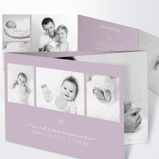 Kleiner Schatz - C6 Doppelklappkarte 148x105 - Grauviolett