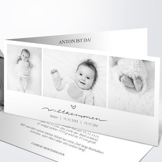 Kleiner Schatz - Horizontale Klappkarte 210x100 - Weiß