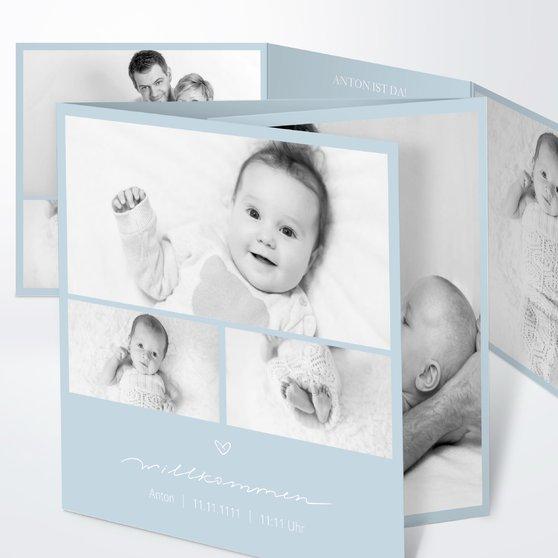 Kleiner Schatz - Doppelklappkarte 145x145 - Puderblau
