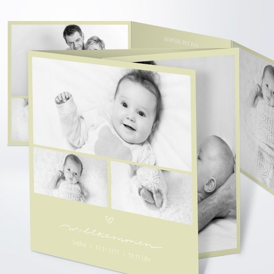 Kleiner Schatz - Doppelklappkarte 145x145 - Helles Lindgrün