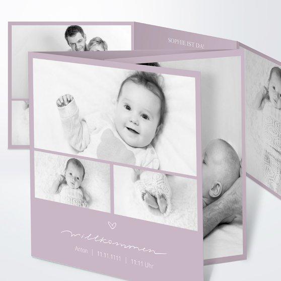 Kleiner Schatz - Doppelklappkarte 145x145 - Grauviolett