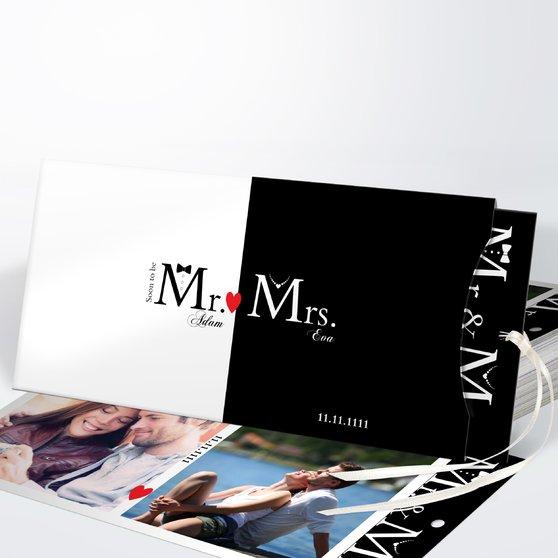 Mr & Mrs - Einsteckkarte mit Hülle 214x104 - Weiß