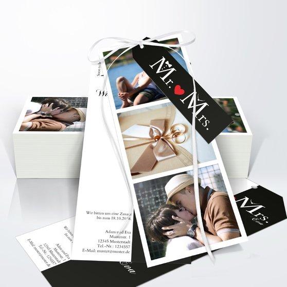 Mr & Mrs - Kartenset Trio 90x210 - Weiß