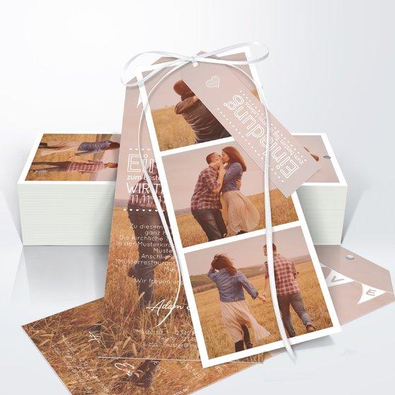 Liebeswimpel - Kartenset Trio 90x210 - Weiß