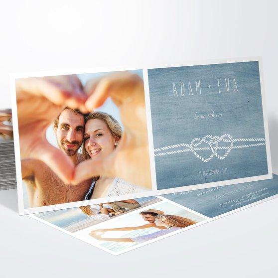 Liebesknoten - Horizontal 210x100 zweiseitig - Feines Blau
