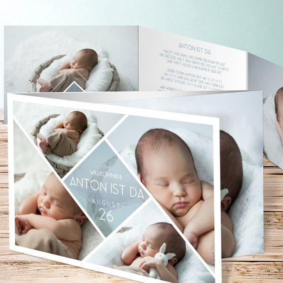 Facetten Baby - C6 Doppelklappkarte 148x105 - Blaugrau
