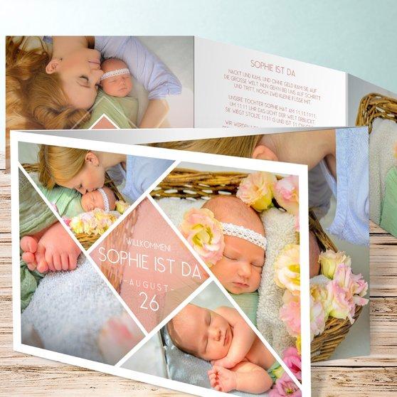 Facetten Baby - C6 Doppelklappkarte 148x105 - Terrakotta