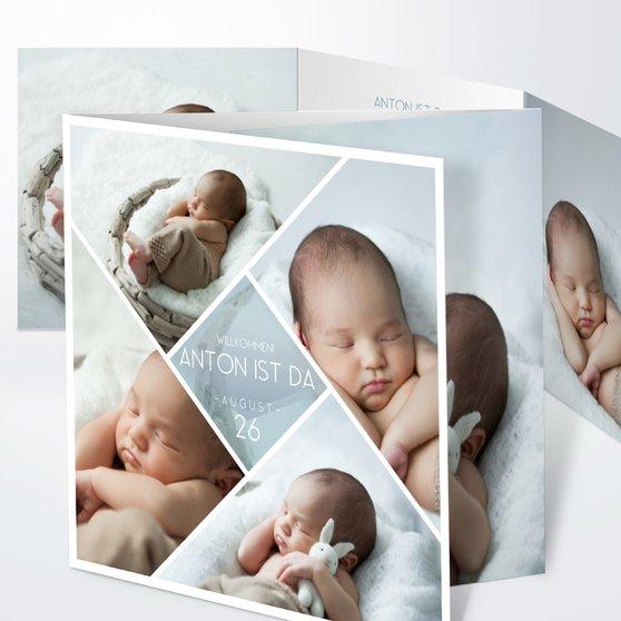 Facetten Baby - Doppelklappkarte 145x145 - Blaugrau