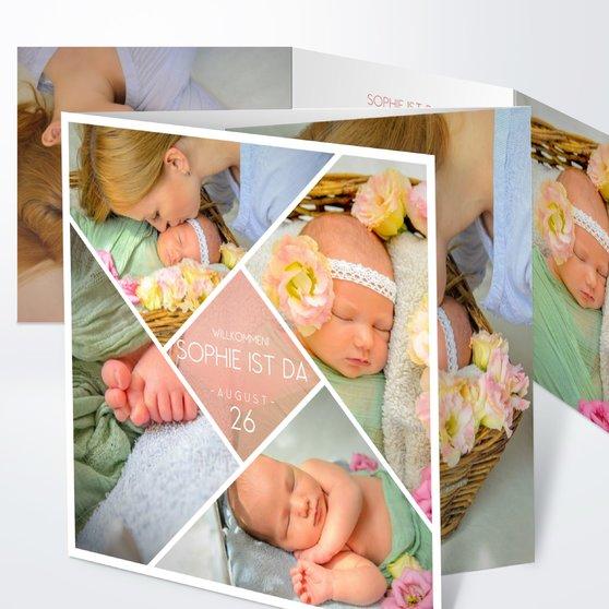 Facetten Baby - Doppelklappkarte 145x145 - Terrakotta