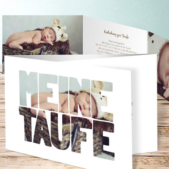 Taufe Fototext - C6 Doppelklappkarte 148x105 - Weiß
