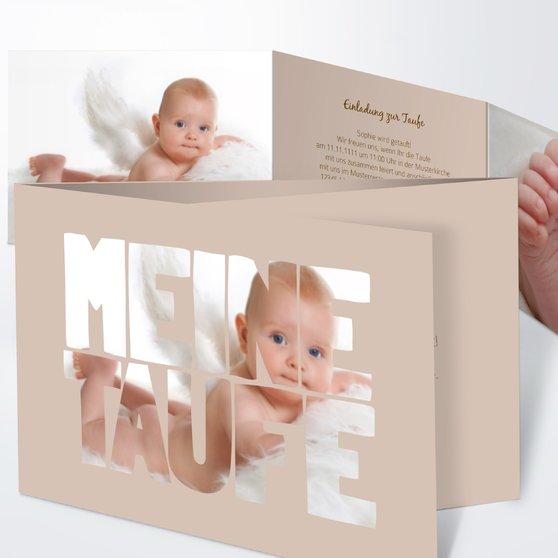 Taufe Fototext - C6 Doppelklappkarte 148x105 - Dunkel Bisquite