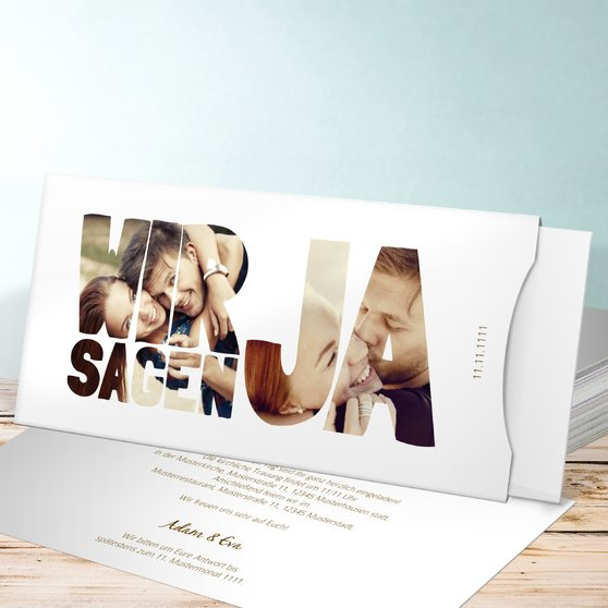 Liebe durch und durch - Einsteckkarte mit Hülle 214x104 - Weiß