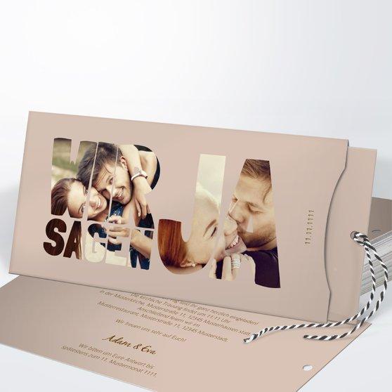 Liebe durch und durch - Einsteckkarte mit Hülle 214x104 - Dunkel Bisquite