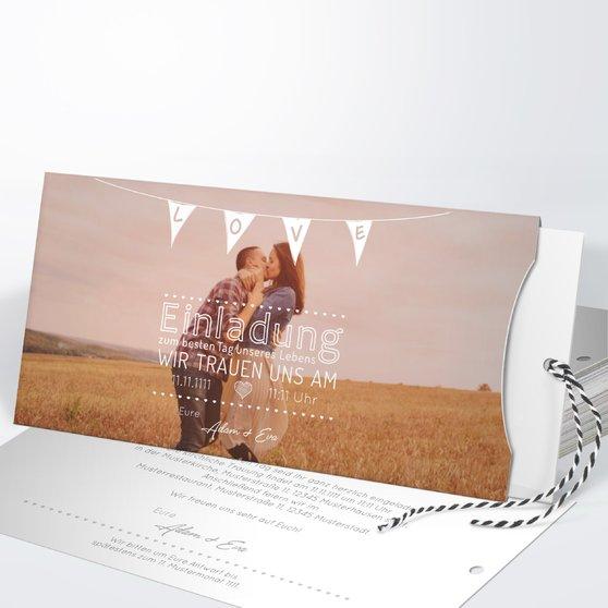 Liebeswimpel - Einsteckkarte mit Hülle 214x104 - Weiß