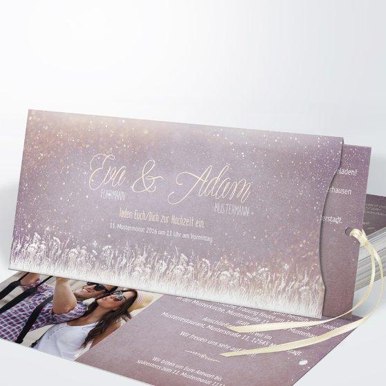 Zauberlicht - Einsteckkarte mit Hülle 214x104 - Zartes Violett