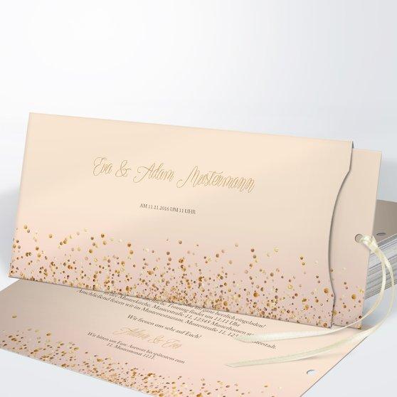 Geflitter - Einsteckkarte mit Hülle 214x104 - Creme