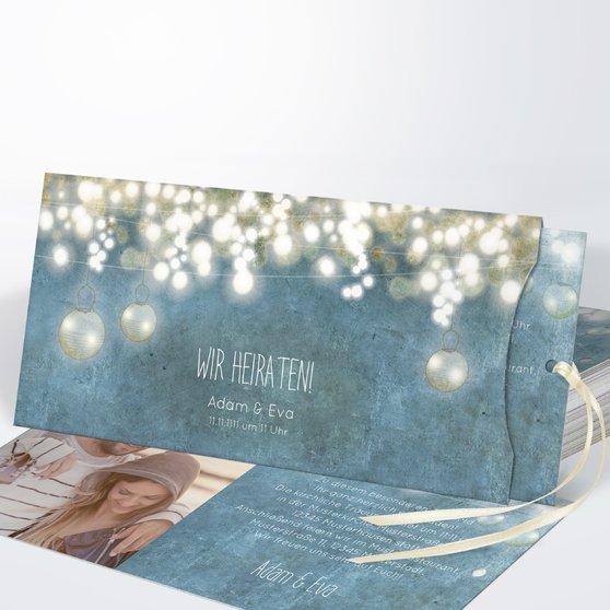 Luminaria - Einsteckkarte mit Hülle 214x104 - Feines Blau