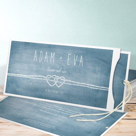 Liebesknoten - Einsteckkarte mit Hülle 214x104 - Feines Blau