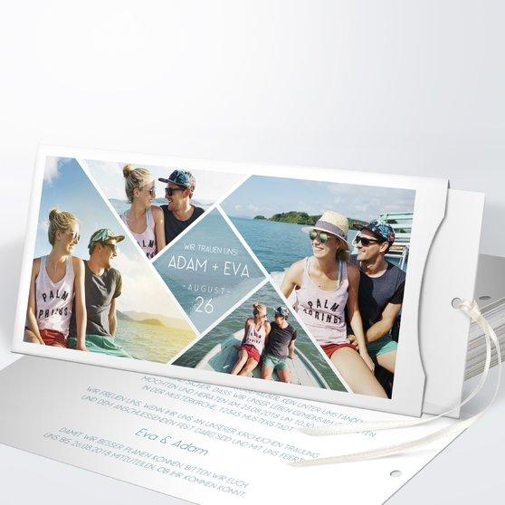 Facetten - Einsteckkarte mit Hülle 214x104 - Blaugrau